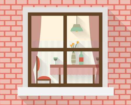 dinner date: Dining table through the window with glasses of wine, flowers and chairs. Flat style vector illustration.