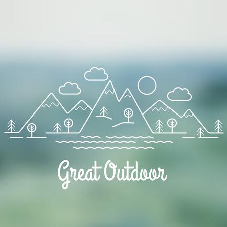 sky line: Great Outdoor. Flat line landscape. Linear style vector illustration.