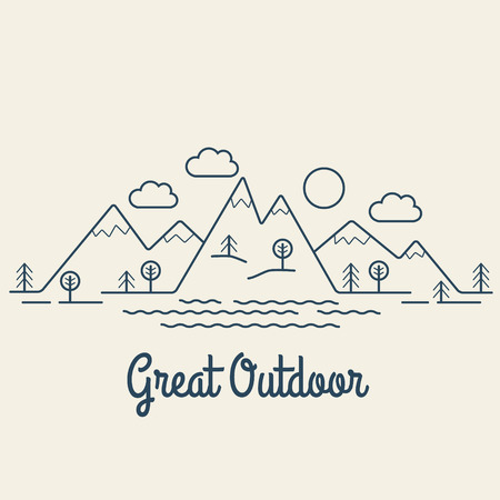 Great Outdoor. Flat line landscape. Linear style vector illustration.