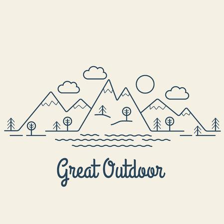 Great Outdoor. Flat line landscape. Linear style vector illustration. Фото со стока - 41645804