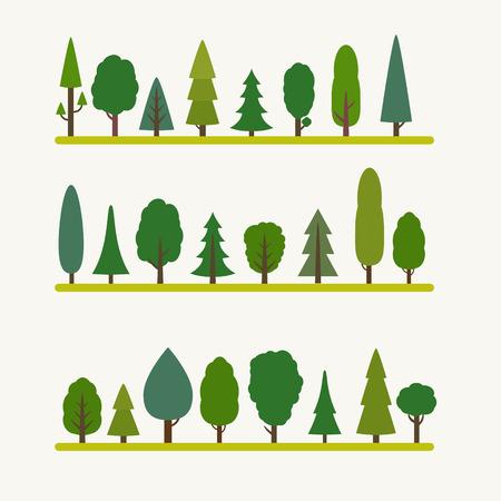 Bos elementen - bomen en dennen, sparren. Vlakke stijl vector illustratie.