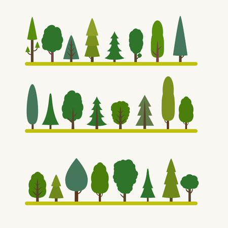 Forest elements - trees and fir-trees, spruce. Flat style vector illustration. Banco de Imagens - 41645814