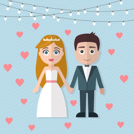 pareja de esposos: Pares de la boda. Novia y novio. Ilustración vectorial de estilo Flat.