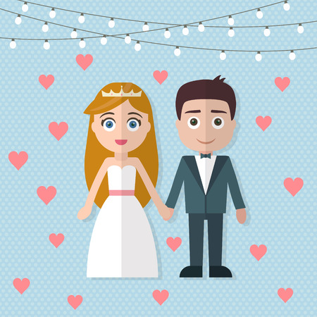 Wedding couple. Bride and groom. Flat style vector illustration. Vettoriali