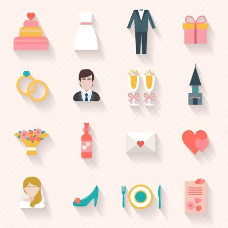 wedding couple: Wedding couple. Bride and groom. Flat style vector illustration. Illustration