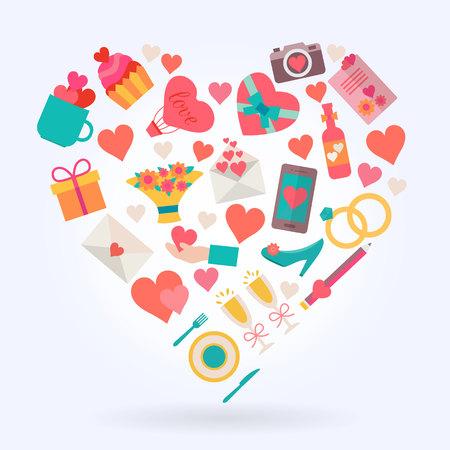 carta de amor: Iconos de amor ambientada en forma de coraz�n. Ilustraci�n vectorial de estilo Flat.