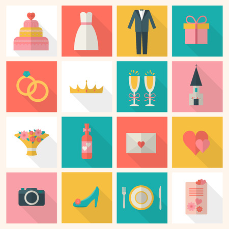 marriage: Wedding couple. Bride and groom. Flat style vector illustration. Illustration