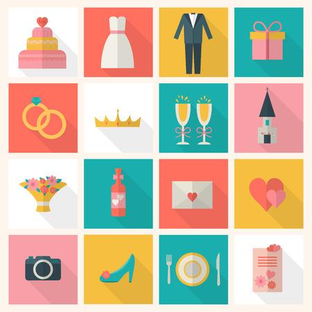 mariage: Wedding couple. Mariée et le marié. Plat illustration vectorielle de style.