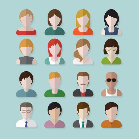 Gente userpics iconos de estilo apartamento en el botón círculo. Hombre y mujer diferente. Ilustración del vector.