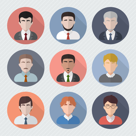 Different male faces in circle icons. Businessmen userpics set. Avatar collection. Flat style vector illustration.