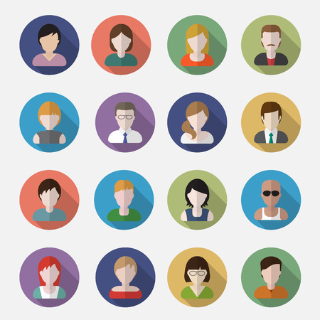 cartoon faces: People userpics icons in flat style in circle button. Different man and woman. Vector illustration.