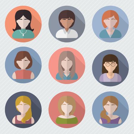 cabeza de mujer: Diferentes caras femeninas en los iconos de c�rculo. Fotos Mujer de usuario fijados. Avatar colecci�n. Ilustraci�n vectorial de estilo Flat.