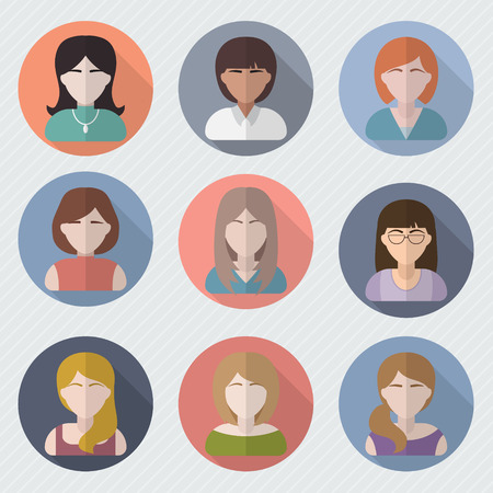 pics: Different female faces in circle icons. Woman user pics set. Avatar collection. Flat style vector illustration. Illustration