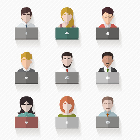 People avatars in flat style. Men and women with computers collection set. Vector illustration.