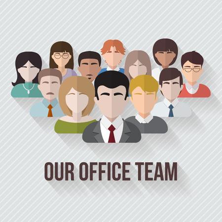 persone: Persone avatars icone di gruppo in stile piatto. Diverso maschili e volti femminili in squadra ufficio. Illustrazione vettoriale.