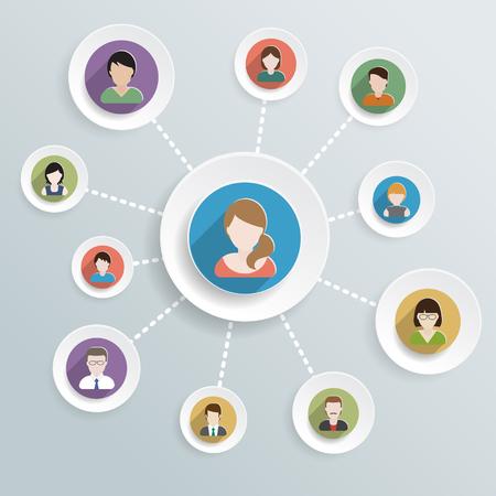 Menschen Kommunikation Flach Symbole auf Kreis-Schaltflächen für Social-Media-und Netzwerk-Verbindung-Konzept. Vektor-Illustration.