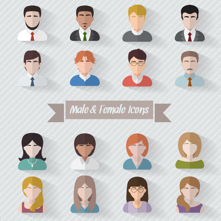 males: People userpics icons in flat style in circle button. Different man and woman. Vector illustration.