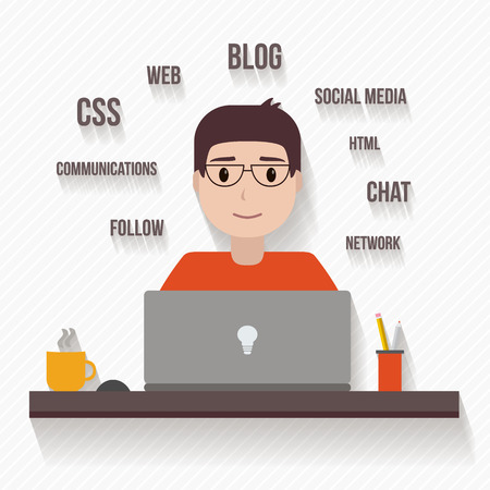 manager: People avatars in flat style. Man with computer. Vector illustration. Illustration