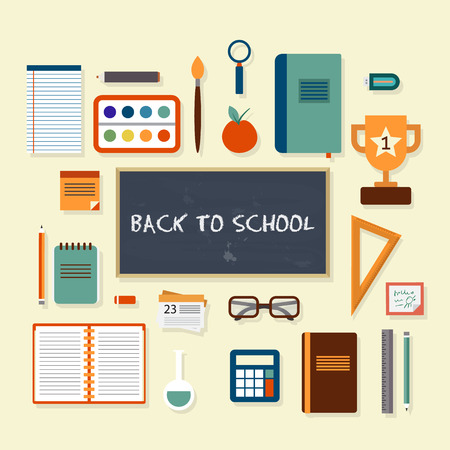 school icon: Back to school on chalkboard and items for studying. Vector flat style illustration. Illustration
