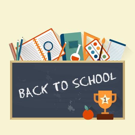 utiles escolares: Volver a la escuela en la pizarra y artículos para el estudio. Vector estilo plano ilustración. Vectores