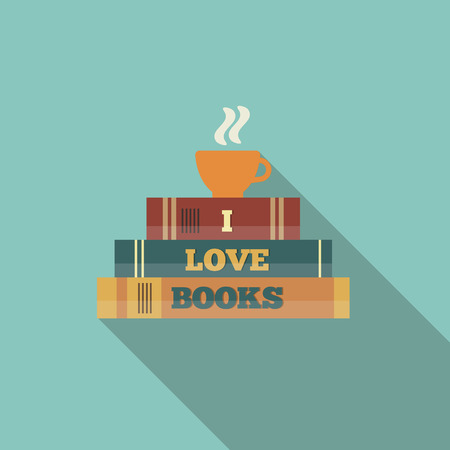 libraries: Books and cup of tea. I love books card. Flat style vector illustration.