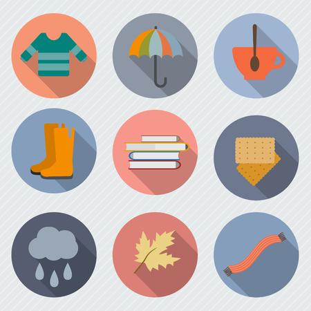botas de lluvia: Objetos otoño. Suéter y una taza de té, silla, libros, paraguas, hojas y otros. Ilustración vectorial de estilo Flat.