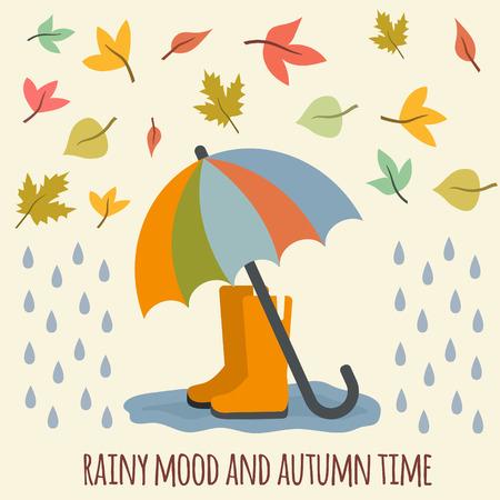 botas de lluvia: Paraguas, botas de goma, gotas de lluvia y las hojas de otoño. Ilustración vectorial de estilo Flat.