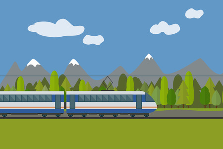forest railway: Train on railway with forest and mountains background. Flat style vector illustration. Illustration