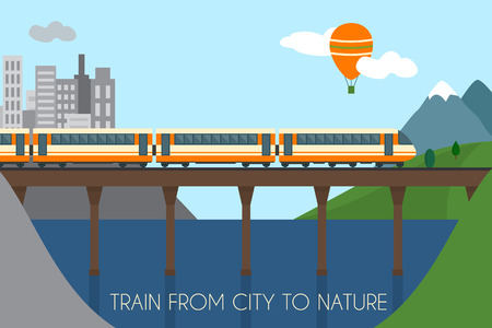 modern train: Train on railway and bridge. Train from city to nature.  Flat style vector illustration.