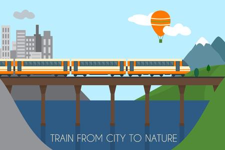 Trein op het spoor en de brug. Trainen van stad naar de natuur. Vlakke stijl vector illustratie. Stock Illustratie