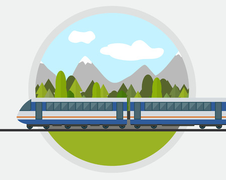 the railway: Train on railway with forest and mountains background. Flat style vector illustration. Illustration
