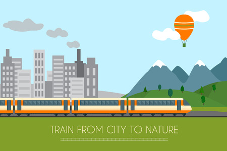 Train on railway with forest and mountains background. Flat style vector illustration. Vettoriali