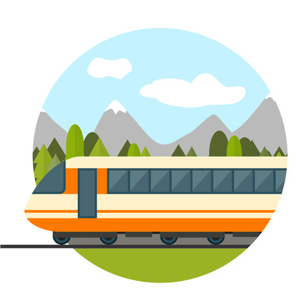Train on railway with forest and mountains background. Flat style vector illustration. Vectores