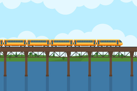 forest railway: Train on railway and bridge. Forest and lake on background. Flat style vector illustration.