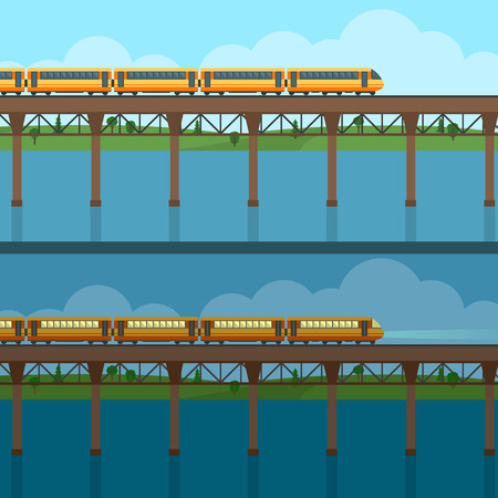 bridge forest: Train on railway and bridge. Forest and lake on background. Day and night view. Flat style vector illustration. Illustration