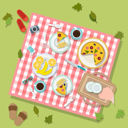 tea basket: Flat design basket picnic with dishes and cutlery. Vector illustration.