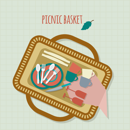 dishes: Flat design basket picnic with dishes and cutlery. Vector illustration.