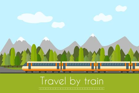 Trein op het spoor met bos en bergen achtergrond. Vlakke stijl vector illustratie.