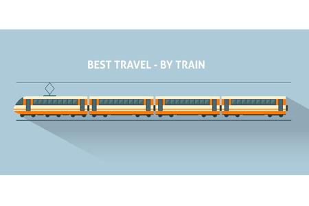 tren: Entrena con largas sombras. Ilustración vectorial de estilo Flat.