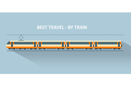 railway transports: Train with long shadows. Flat style vector illustration.