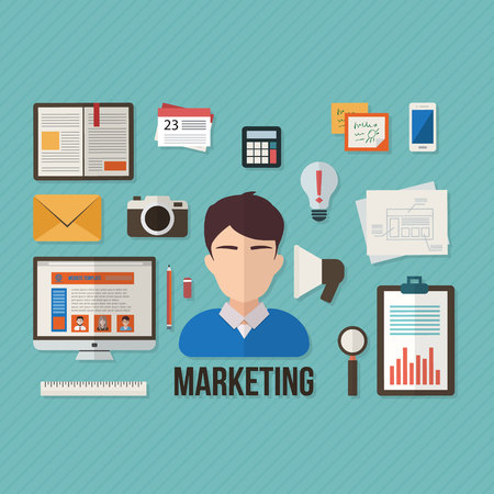 online advertising: Marketing concept with objects and devices. Flat design vector illustration. Illustration