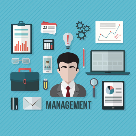 design objects: Management concept with objects and devices. Flat design vector illustration.
