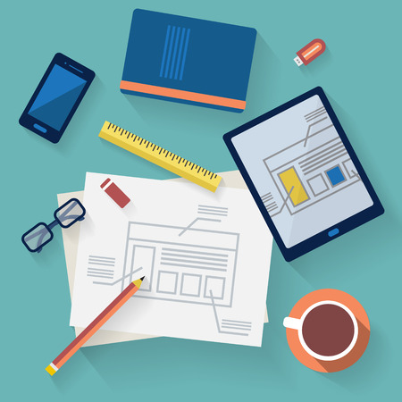 marketing strategy: Flat design vector illustration. Business workplace with cup of coffee, digital tablet, smartphone, papers and various office objects on table. Illustration