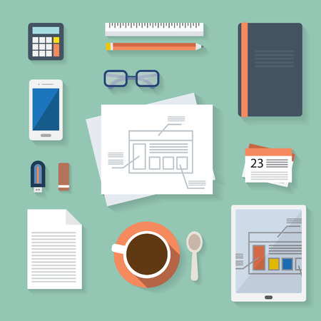 Flat design vector illustration. Business workplace with cup of coffee, digital tablet, smartphone, papers and various office objects on table. Ilustração