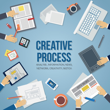 marketing strategy: Creative process. Business workplace with people hand, cup of coffee, digital tablet, smartphone, papers and various office objects on table. Flat design vector illustration. Illustration