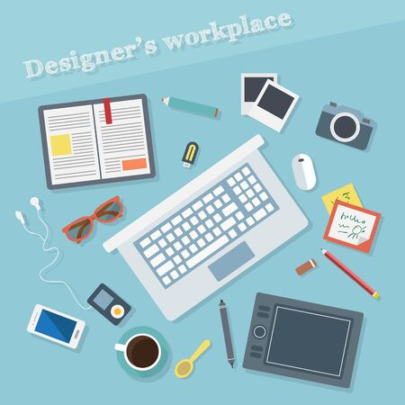 data management: Design concept with objects and devices. Flat design vector illustration. Illustration