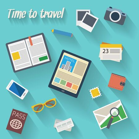 travel map: Travelers table with digital tablet, smartphone, travel book, photo, map with magnifier, pen, glasses, passport  and various  objects. Travel and tourism flat icons set. Vector illustration.