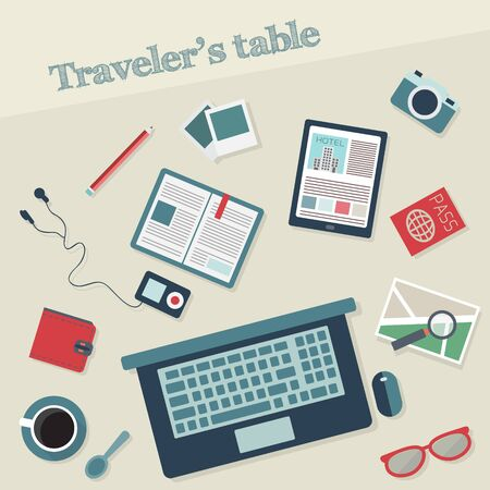 guidebook: Travelers table with digital tablet, smartphone, travel book, photo, map with magnifier, pen, glasses, passport  and various  objects. Travel and tourism flat icons set. Vector illustration.