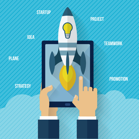 workteam: Startup concept with rocket and gadget with hand. Flat style vector illustration. Illustration
