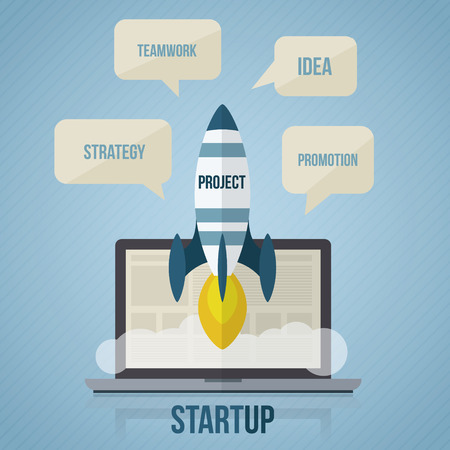 workteam: Startup concept with rocket and notebook. Flat style vector illustration.